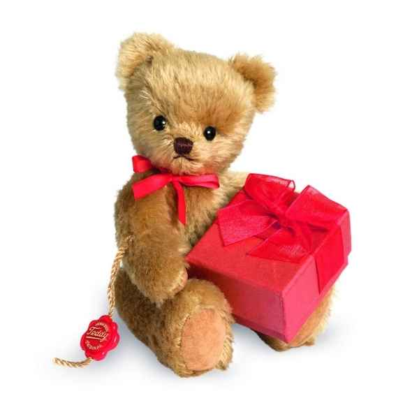 Ours en peluche de collection teddy avec cadeau 15 cm hermann -15613 0