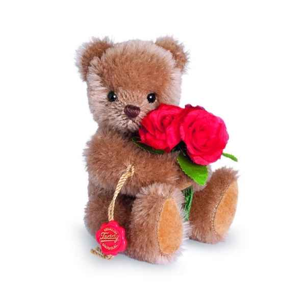 Ours en peluche de collection teddy avec roses 15 cm hermann -15611 6