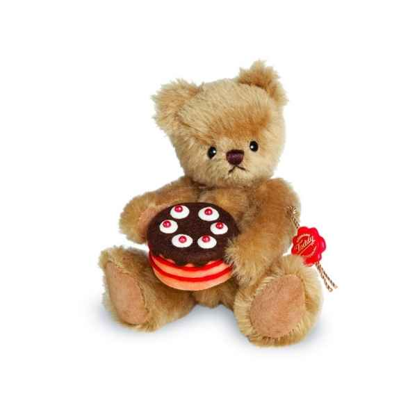 Ours en peluche de collection teddy avec tarte 15 cm hermann -15609 3