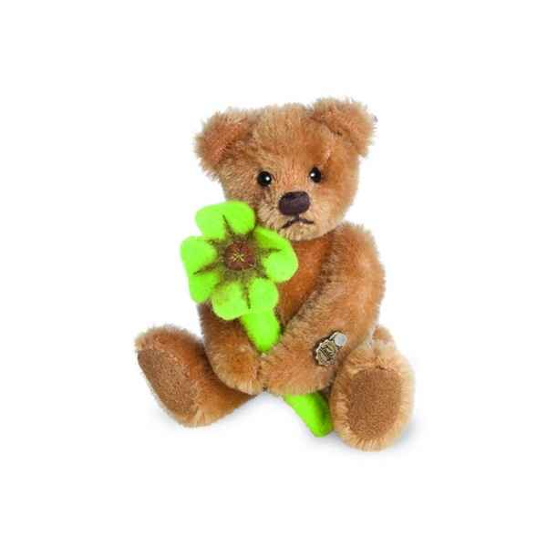 Ours en peluche de collection teddy avec trefle 10 cm hermann -15492 1