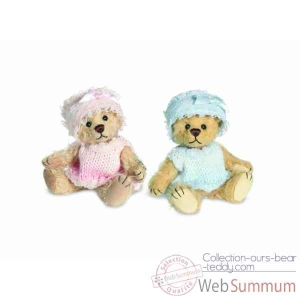 Peluche Teddy bebe bleu Hermann Teddy original miniature 9cm 16236 0