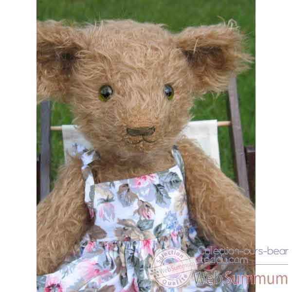 Peluche Ours d'artiste Clementine - piece unique signee - ours fabrication ancienne