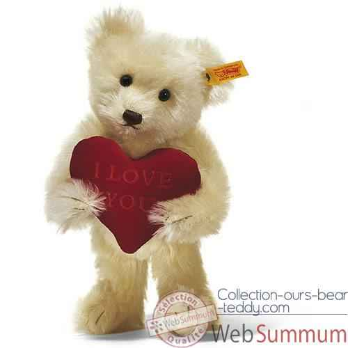 Video Peluche Steiff Ours Teddy I love you mohair creme -st002885