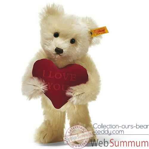 Video Peluche Steiff Ours Teddy I love you mohair creme -st002892